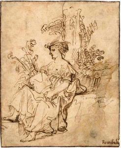Zittende vrouw met bloemenvaas (Flora)