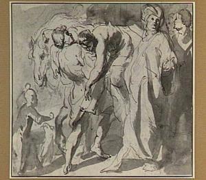 De barmhartige Samaritaan komt bij de herberg met de gewonde reizger (Lucas 10:30-37)