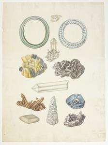 Studie van diverse soorten mineralen en twee glazen armbanden