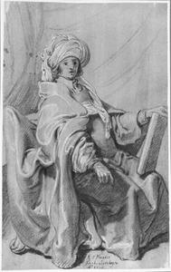 Zittende figuur in mantel en tulband met een boek