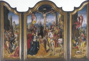 De kruisdraging (links); de kruisiging (midden); de verrijzenis (rechts)