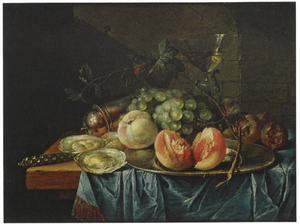 Stilleven met oesters en fruit