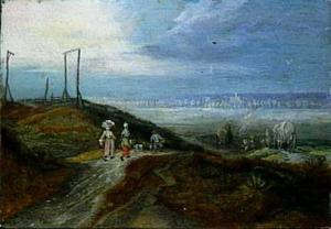 Landschap met boeren en wagens
