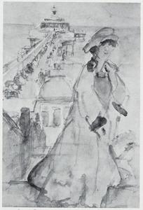 Lola Cornero (1892-1980) op de pier in Scheveningen