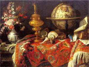 Stilleven met vaas bloemen, wereldbol en boeken op een rood tapijt