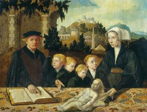 Portret van Ivo van Fritema (....-1540), Tjaertke van Donia (....-....) en kinderen