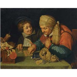 Een oude vrouw bezig met geld tellen in een kantoor, met naast zich een lachende jongen