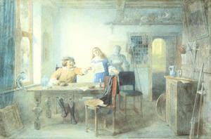 Rembrandt aan het etsen