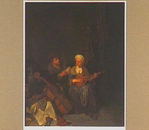Interieur met cister spelende vrouw en zingende man