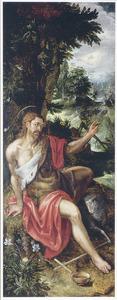 De H. Johannes de Doper in de wildernis. In de achtergrond de doop van Christus in de Jordaan