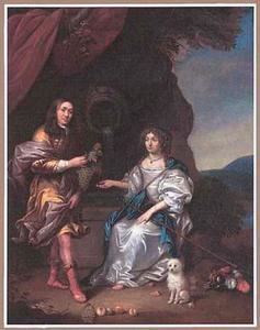 Portret van een man en een vrouw bij een bron in een landschap met een hondje op de voorgrond