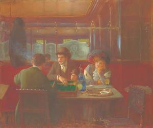 Triktrakspelers in een Parijs café