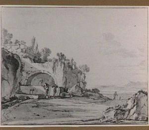 Italianiserend landschap met ruïnes en een bron