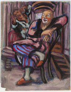 Clown zittend voor een woonwagen
