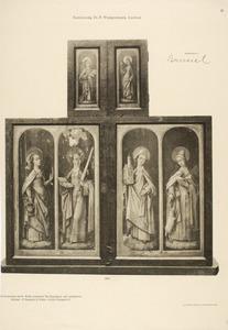 De HH. Dorothea en Catharina (buitenzijde linkerluik); de HH. Irmgardis van Keulen (?) en Agnes (buitenzijde rechterluik); de H. Ursula (buitenzijde linker bovenluik); de H. Agatha (buitenzijde rechter bovenluik)