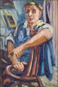 Zelfportret Herbert Fiedler in zijn atelier