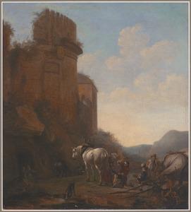 Hoefsmid beslaat een paard in een landschap met een ruine