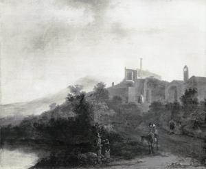 Italianiserend landschap met ruïnes in de omgeving van Tivoli