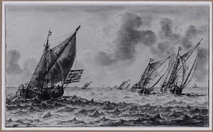 Zeilboten op woelige zee