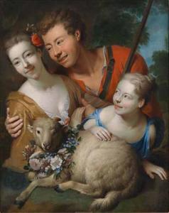 Herder met twee herderinnen met een lam