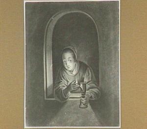 Vrouw met olielamlamp (zogenaamde snotneus) in een venster