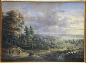 Weids landschap met landhuis