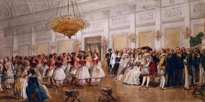Gekostumeerd bal in de grote balzaal van paleis Noordeinde te Den Haag, 14 maart 1862