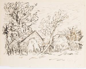 Boerderij met hooimijt en bomen in het Gooi