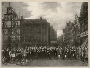 De leden van 'De Oude Voetboog' brengen hulde aan hun weldoener Godfried Snyders op de Grote Markt te Antwerpen, 1643