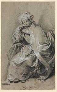 Zittende figuur in mantel en bontmuts (Sibylle?)