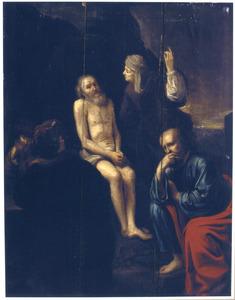 Job op de mestvaalt door zijn vrouw de les gelezen (Job 2:7-13)