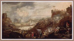 Veldslag tussen Turkse en Hollandse troepen nabij een fort en een mediterrane haven