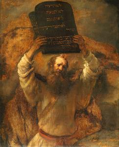 Mozes vernietigt de Tafelen der Wet (Exodus 32: 19)