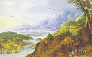 Een bergachtig kustlandschap met rustende reizigers op de voorgrond