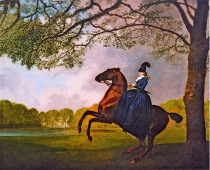 Lady Lade oefent met een Arabisch paard