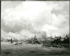 Gezicht op de haven van Rotterdam met rechts de Boompjes