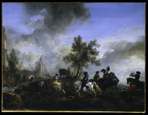 Landschap met valkenjagers bij een riviertje
