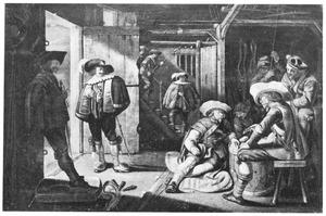 Kaartende soldaten in een wachtlokaal