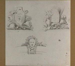 Studies van attributen van Vrijheid en Eendracht met schilden, roedenbundels en helmen en studie van een ornament