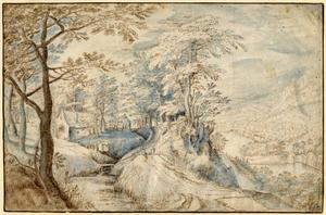 Landschap met een bosweg en rechts een gezicht en een vallei