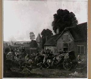 Overval op een konvooi in een dorp