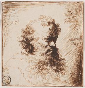 Hoofd van een oude man met baard en gedeeltelijke schets van een gezicht en profil