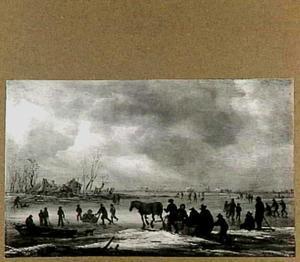 Winterlandschap met schaatsers en een paardenslee
