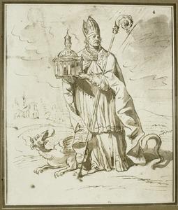 Bisschop met kerkmodel en draak