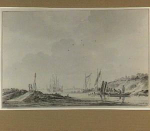 Riviermonding met schepen, bootjes en figuren
