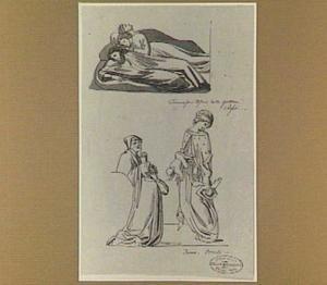 Drie slapende figuren; twee geknielde mannen en vrouw met twee duiveltjes