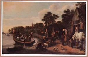 Mensen voor een herberg aan een rivier