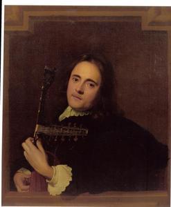 Portret van een onbekende man, die op een theorbe speelt