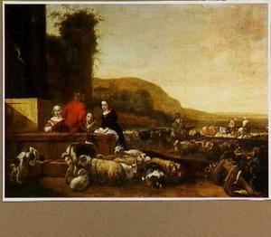 Italiaans landschap met kinderen, schapen en geiten bij