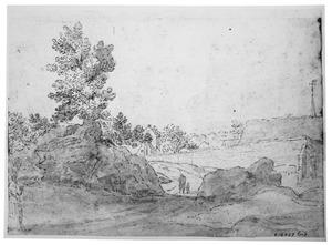 Heuvellandschap met kapen achter een afscheidingsmuur (een klooster?)